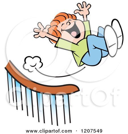 Cartoon of a Happy Boy Sliding down and Flying off a Banister - Royalty Free Vector Clipart by Johnny Sajem