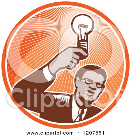Clipart of a Retro Woodut Black Businessman Holding a Light Bulb in an Orange Circle - Royalty Free Vector Illustration by patrimonio