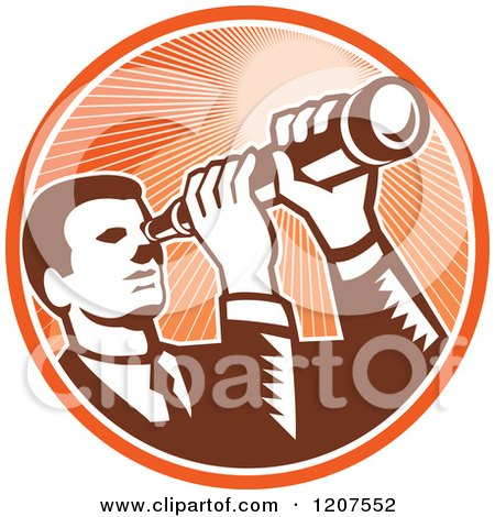 Clipart of a Retro Woodut Businessman Looking Through a Telescope in an Orange Ray Circle - Royalty Free Vector Illustration by patrimonio