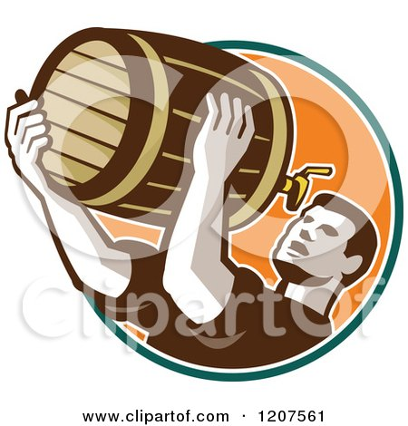 Clipart of a Retro Man Drinking Beer from the Keg - Royalty Free Vector Illustration by patrimonio