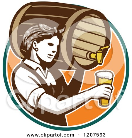 Clipart of a Retro Female Bartender Pouring Beer from a Keg - Royalty Free Vector Illustration by patrimonio