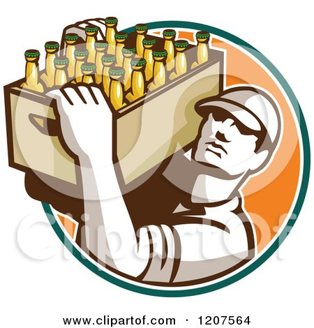 Clipart of a Retro Worker Carrying a Case of Beer Bottles - Royalty Free Vector Illustration by patrimonio