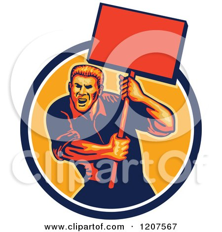 Clipart of a Retro Activist Worker Protesting with a Sign - Royalty Free Vector Illustration by patrimonio