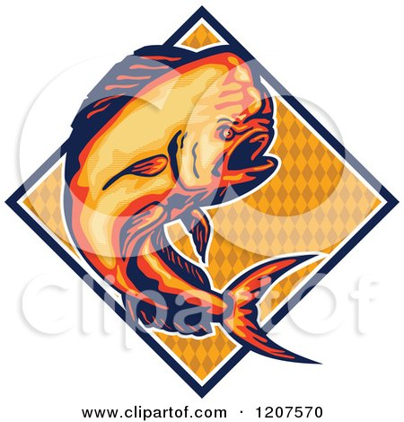 Clipart of a Retro Jumping Dolphin Fish over a Diamond - Royalty Free Vector Illustration by patrimonio