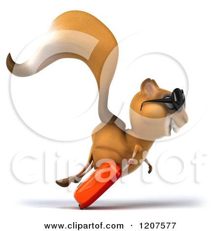 Clipart of a 3d Traveling Squirrel Running with Sunglasses and ...