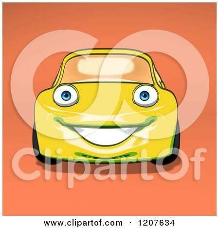 Cartoon of a Happy Yellow Porsche on Orange - Royalty Free Clipart ...