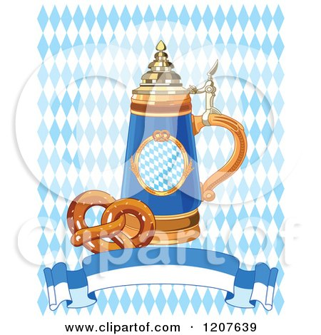 Cartoon of a Soft Pretzel and Oktoberfest Beer Stein and Banner over Diamonds - Royalty Free Vector Clipart by Pushkin