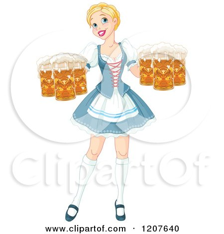 Cartoon of a Happy Blond Oktoberfest Beer Maiden Woman - Royalty Free Vector Clipart by Pushkin