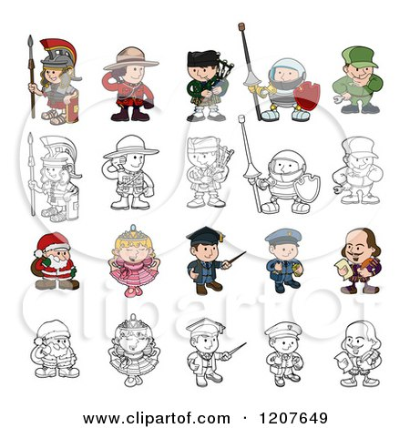 Cartoon of Outlined and Colored Children in Costumes - Royalty Free Vector Clipart by AtStockIllustration