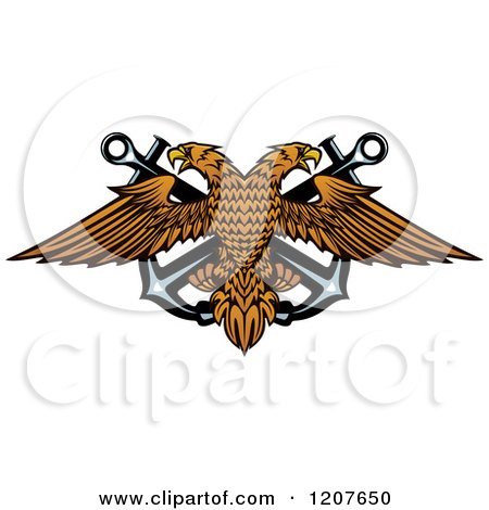 Clipart of a Double Headed Eagle over Crossed Anchors 2 - Royalty Free Vector Illustration by Vector Tradition SM