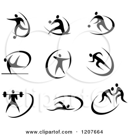 Clipart of Black and White Athletes in Action - Royalty Free Vector Illustration by Vector Tradition SM