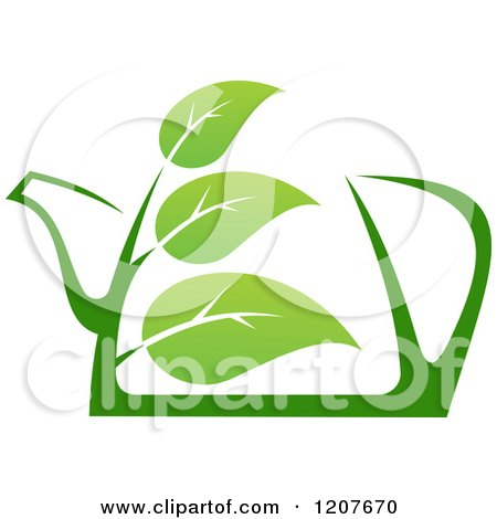 Clipart of a Pot of Green Tea with Leaves - Royalty Free Vector Illustration by Vector Tradition SM
