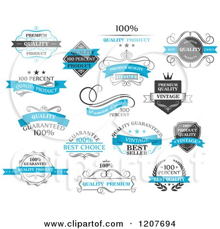 Clipart of Blue Black and White Quality Product Labels - Royalty Free Vector Illustration by Vector Tradition SM