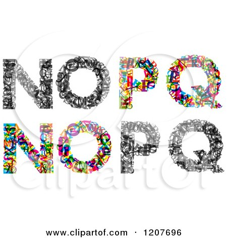 Clipart of Colorful N O P and Q Made of Tiny Letters - Royalty Free Vector Illustration by Vector Tradition SM