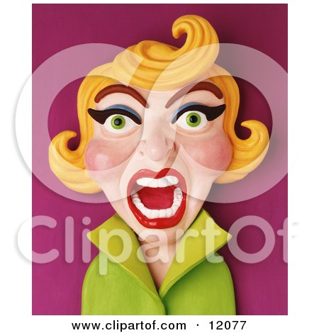 Clay Sculpture Clipart Screaming Retro Blond Woman Royalty Free 3d Illustration