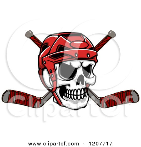 Clipart of a Skull with a Hockey Helmet and Crossed Sticks - Royalty Free Vector Illustration by Vector Tradition SM