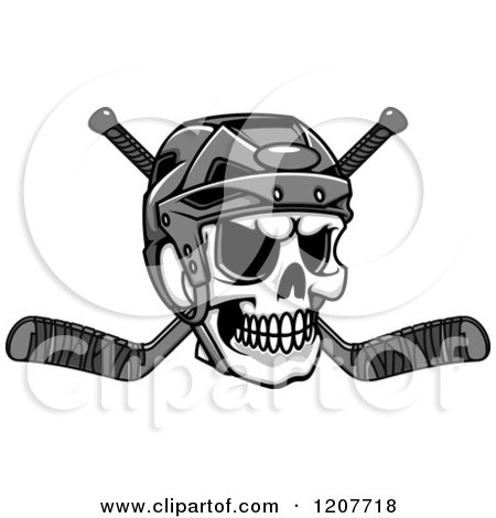 Clipart of a Grayscale Skull with a Hockey Helmet and Crossed Sticks - Royalty Free Vector Illustration by Vector Tradition SM