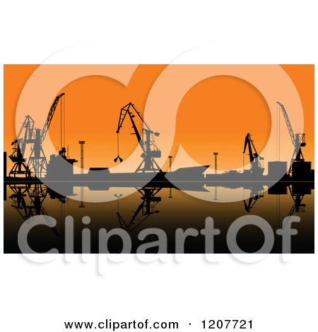 Clipart of Silhouetted Working Cranes Unloading Cargo in a Seaport at Sunset - Royalty Free Vector Illustration by Vector Tradition SM