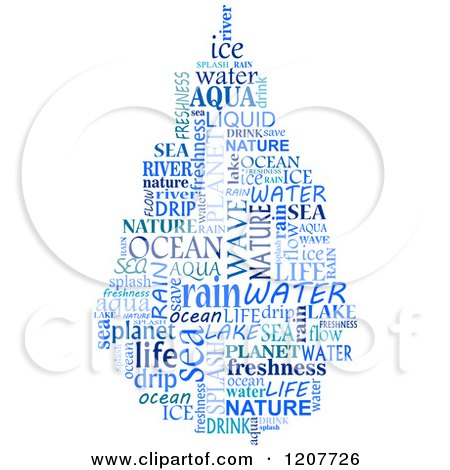 Clipart of a Blue Water Drop Shaped Word Collage Royalty