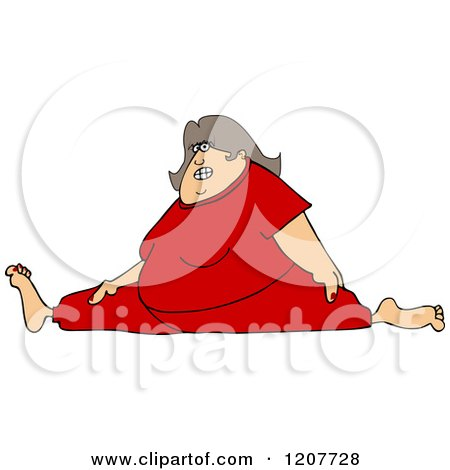 Cartoon of a Chubby White Woman Wincing and Doing the Splits in Red Sweats - Royalty Free Vector Clipart by djart