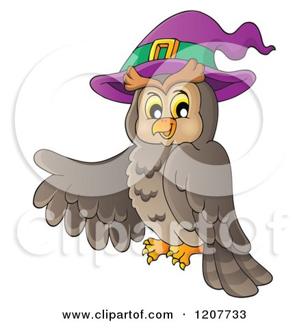 Cartoon of a Halloween Owl Wearing a Witch Hat and ...