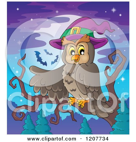 Cartoon of a Halloween Owl Wearing a Witch Hat and Pointing Against a Full Moon - Royalty Free Vector Clipart by visekart
