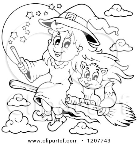 Cartoon Of An Outlined Cute Halloween Witch Girl And Cat Flying On A Broomstick