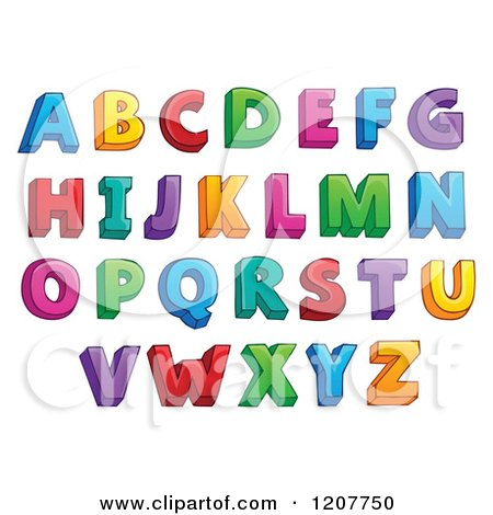 Cartoon of a Colorful Alphabet Letters - Royalty Free Vector Clipart by visekart