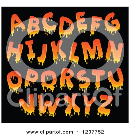 Cartoon of a Orange Dripping Alphabet