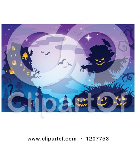 Cartoon of a Haunted House Against a Full Moon with Bats over Jackolanterns a Scarecrow and a Cat in a Cemetery - Royalty Free Vector Clipart by visekart