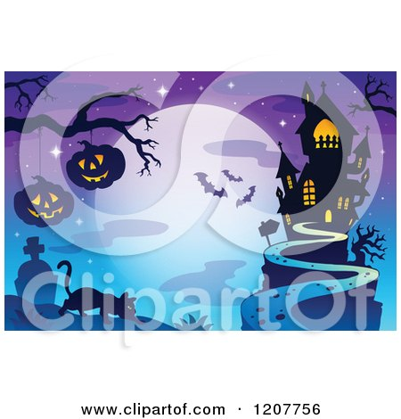 Cartoon of a Haunted House Against a Full Moon with Bats a Cat and Jackolanterns over a Cemetery - Royalty Free Vector Clipart by visekart