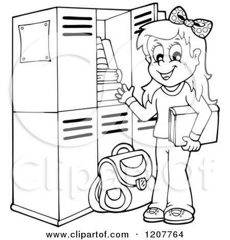 Outlined Happy Blond School Girl at Her Locker Posters, Art Prints