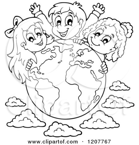 diversity children coloring pages | Cartoon of Outlined Happy Diverse Children over a Globe ...