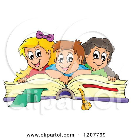Cartoon of Happy School Children on a Giant Book - Royalty Free Vector Clipart by visekart