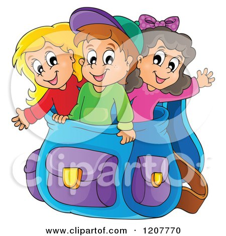 Cartoon of Happy School Children in a Big Backpack - Royalty Free Vector Clipart by visekart