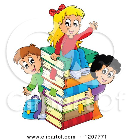 Cartoon of Happy School Children with a Stack of Books - Royalty Free Vector Clipart by visekart