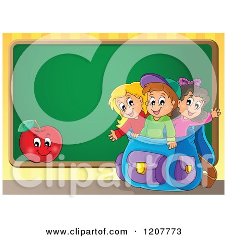 Cartoon of Happy School Children in a Big Backpack and an Apple over a Chalkboard - Royalty Free Vector Clipart by visekart