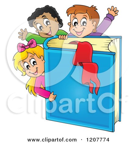 Cartoon of Happy School Children with a Giant Blue Book - Royalty Free Vector Clipart by visekart