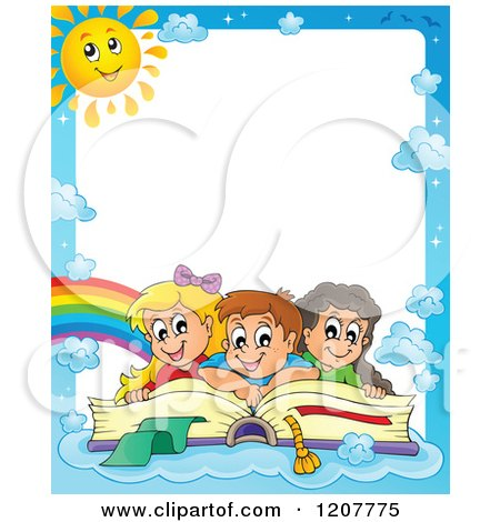 Cartoon of Border of Happy School Children on a Giant Book and Blue Sky with a Sun - Royalty Free Vector Clipart by visekart