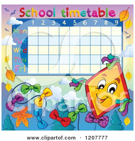 Cartoon of a School Time Table of a Kite and Leaves - Royalty Free Vector Clipart by visekart