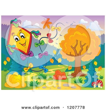 Cartoon of a Happy Kite over an Autumn Path - Royalty Free Vector Clipart by visekart