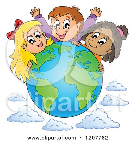 Cartoon of a Happy Diverse Children over a Globe and Clouds - Royalty Free Vector Clipart by visekart