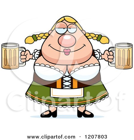 Cartoon of a Chubby Oktoberfest German Woman Holding Two Beers - Royalty Free Vector Clipart by Cory Thoman