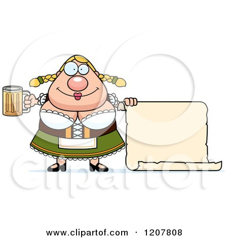 Cartoon of a Chubby Oktoberfest German Woman with a Beer and Sign - Royalty Free Vector Clipart by Cory Thoman