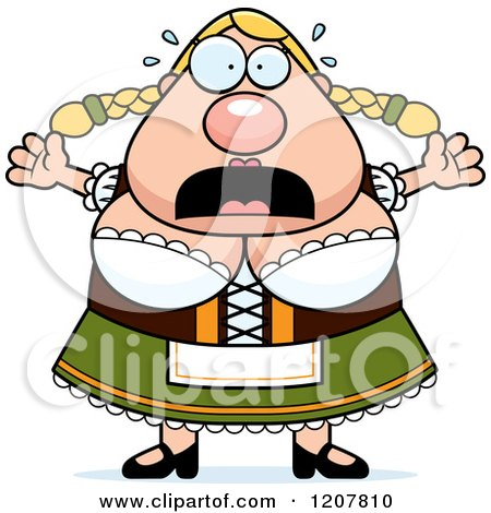 Cartoon of a Scared Chubby Oktoberfest German Woman - Royalty Free Vector Clipart by Cory Thoman
