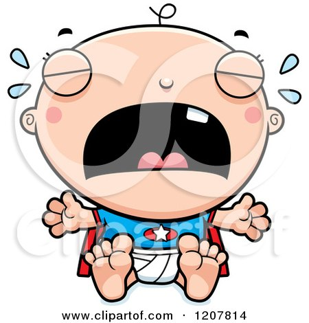 Cartoon of a Crying Super Infant Baby Boy - Royalty Free Vector Clipart by Cory Thoman