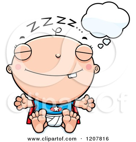 Cartoon of a Dreaming Super Infant Baby Boy - Royalty Free Vector Clipart by Cory Thoman