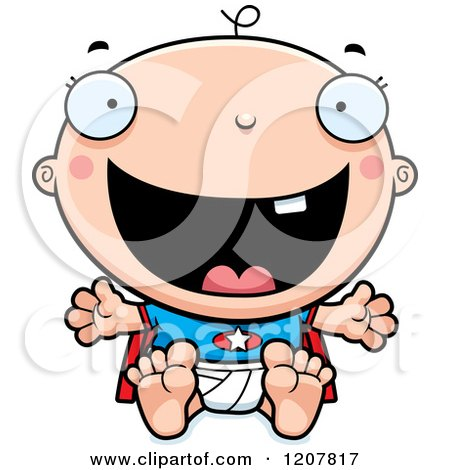 Cartoon of a Happy Excited Super Infant Baby Boy - Royalty Free Vector Clipart by Cory Thoman