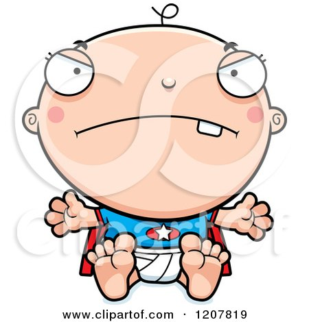 Cartoon of a Mad Super Infant Baby Boy - Royalty Free Vector Clipart by Cory Thoman