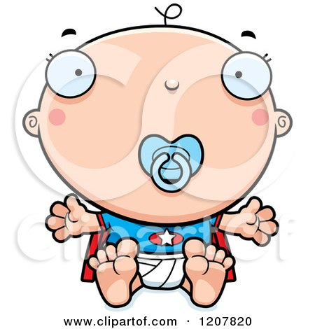 Cartoon of a Super Infant Baby Boy with a Pacifier - Royalty Free Vector Clipart by Cory Thoman